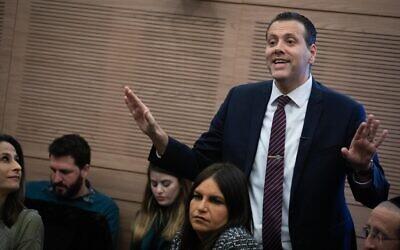 Le député Likud Miki Zohar lors d'une réunion à la Knesset, le 13 janvier 2020. (Hadas Parush/Flash90)