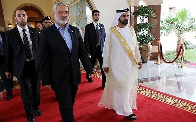 Ismail Haniyeh, haut responsable du Hamas, à Abou Dhabi. (Mohammed Al-Ostaz / Flash90)