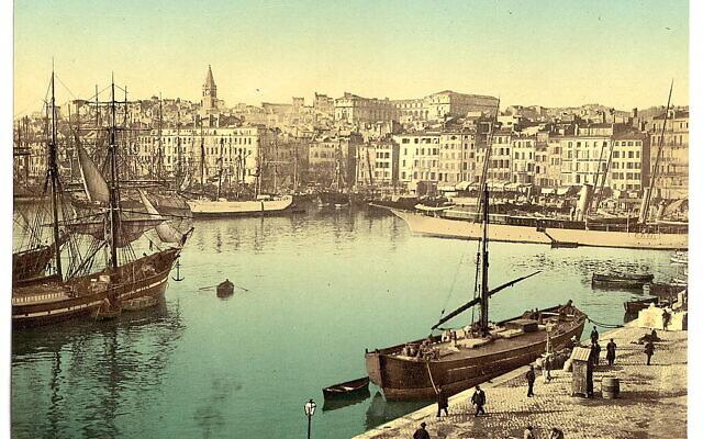 Représentation du vieux port de Marseille avec l'Hôtel Dieu, utilisé comme hôpital, à l'arrière-plan, vers 1890. (Bibliothèque du Congrès)