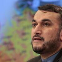 Un responsable iranien, Hossein Amir-Abdollahian, alors vice-ministre des Affaires étrangères, prend la parole lors d'une conférence de presse à Moscou, en Russie, le 3 août 2012. (AP Photo / Misha Japaridze)