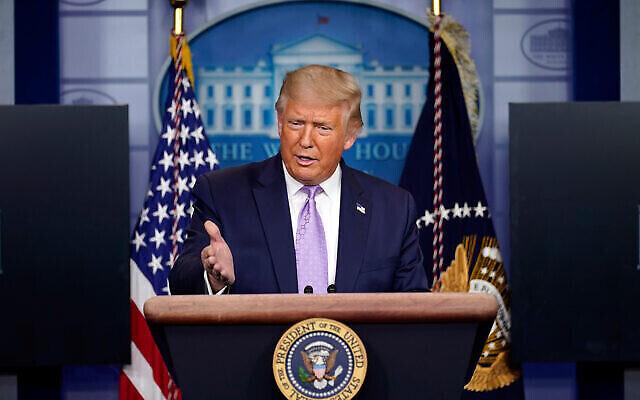 Le président américain Donald Trump donne une conférence de presse à la Maison Blanche à Washington, le 13 août 2020. (AP Photo / Andrew Harnik)