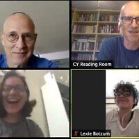 Josh Kulp (en haut à droite) et certains de ses étudiants de niveau avancé du Talmud sur Zoom, pendant les affres de la pandémie de coronavirus. (Avec l'aimable autorisation de Josh Kulp)