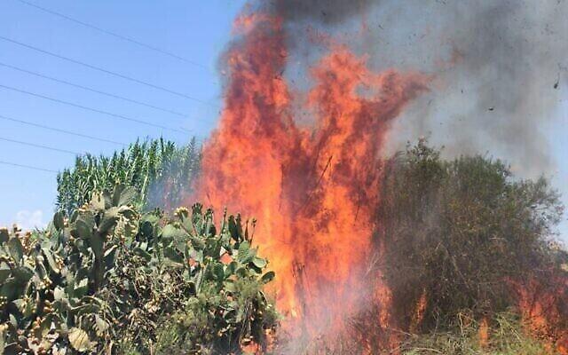 Un incendie qui aurait été déclenché aux abords du kibboutz Erez par un dispositif incendiaire accroché à un ballon incendiaires lancé depuis la bande de Gaza, le 20 août 2020 (Crédit : Région Shaar Hanegev)