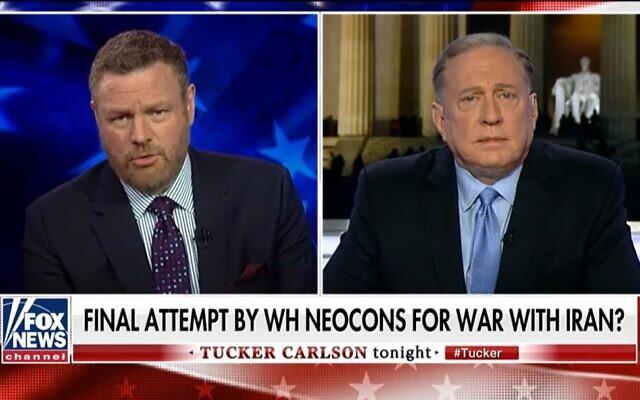 Douglas Macgregor, à droite, intervient sur Fox News, le 30 décembre 2019. (Capture d'écran via JTA)