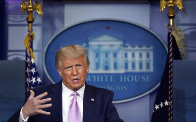 Le président Donald Trump s'exprime lors d'une conférence de presse à la Maison Blanche, le mercredi 19 août 2020 à Washington. (AP Photo/Evan Vucci)