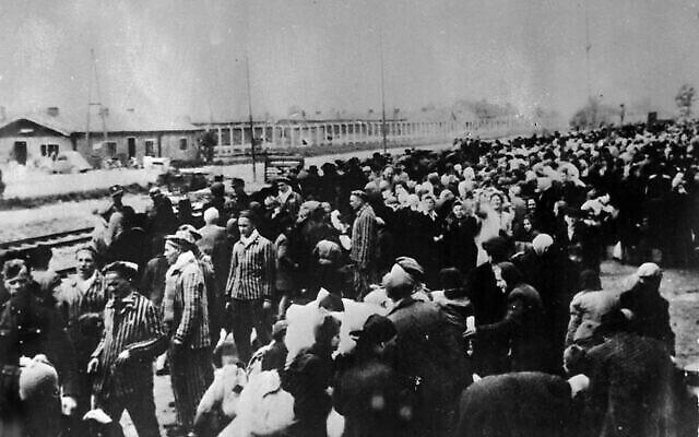 Des victimes à destination du camp de concentration d'Auschwitz, alignées à la gare à l'arrivée à Auschwitz. Une photographie prise par les nazis au début de la Seconde Guerre mondiale. (AP PHOTO/FILE)