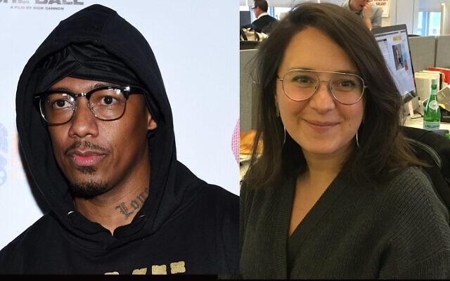 Nick Cannon, à gauche, a évalué le livre sur l'antisémitisme que Bari Weiss, à droite, a publié en 2019. (Amanda Edwards/Getty Images, Josefin Dolsten via JTA)