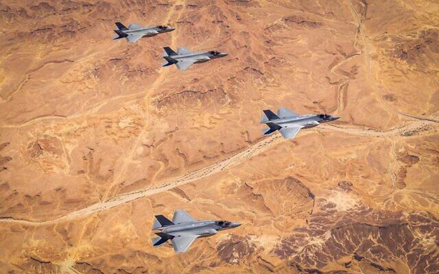 Des avions de combats F-35 israéliens et américains participent à un exercice comment au sud d'Israël le 29 mars 2020. (Autorisation : Armée israélienne)