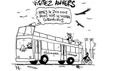 Des vautours volent au-dessus d'un homme juif à Anvers, en Belgique, dans une caricature du 7 août 2020 que des critiques affirment être antisémite.  (Pierre Kroll/Le Soir via JTA)