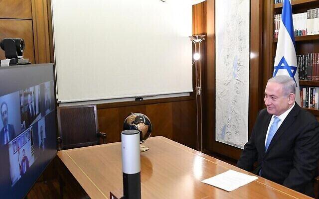 Le Premier ministre Benjamin Netanyahu s'entretient avec des dirigeants de la communauté juive des Émirats arabes unis, le 20 août 2020 (Crédit : cabinet du Premier ministre)