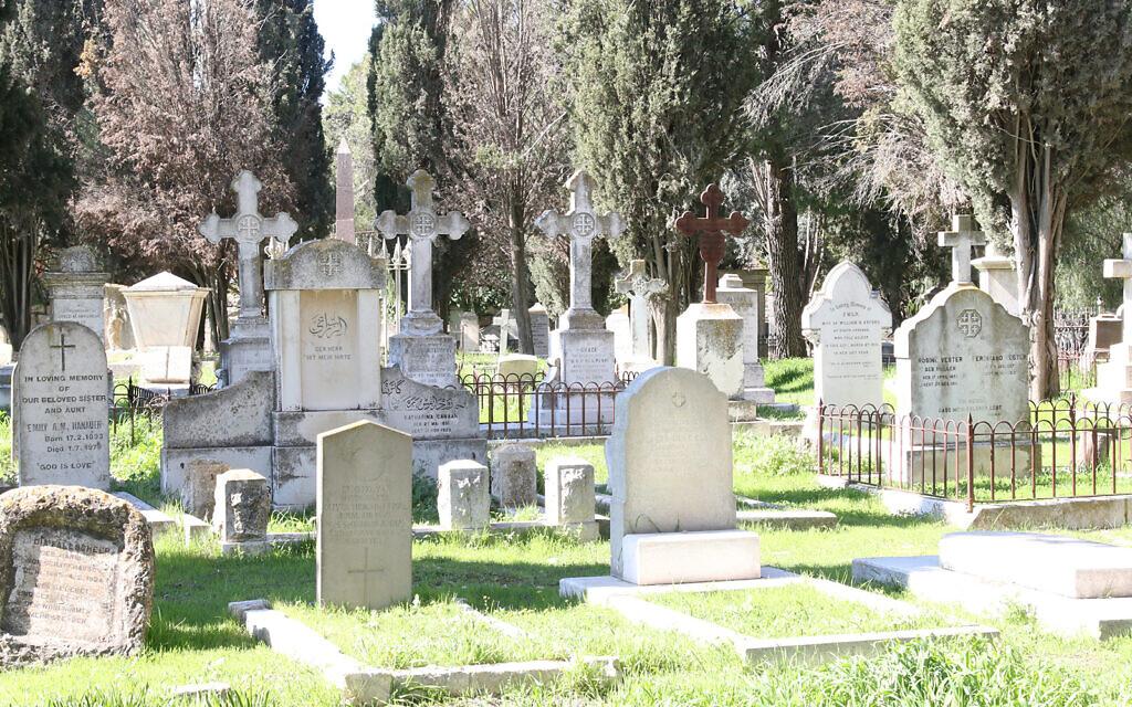 Le cimetière protestant sur le mont Sion à Jérusalem. (Crédit : Shmuel Bar-Am)