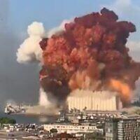 Une explosion dans le port de Beyrouth, le 4 août 2020 (Capture d'écran : Twitter)