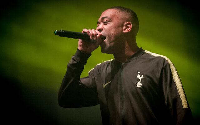 Wiley chante à lors de l'événement O2 Academy Brixton, le 2 mars 2018 (Crédit : Ollie Millington/Redferns/Getty Images via JTA)