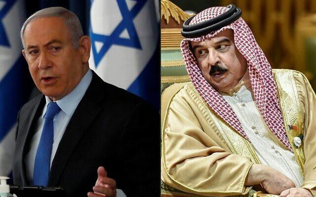 Cette combinaison de photos montre, à gauche, le Premier ministre Benjamin Netanyahu présidant la réunion hebdomadaire du cabinet à Jérusalem le 28 juin 2020 et, à droite, le roi Hamad bin Isa Al Khalifa de Bahreïn, s'entretenant avec un autre délégué lors du 40e sommet du Conseil de coopération du Golfe tenu à Riyad, la capitale saoudienne, le 10 décembre 2019. (Crédits : Ronen Zvulun et Fayez Nureldine / Sources diverses / AFP)