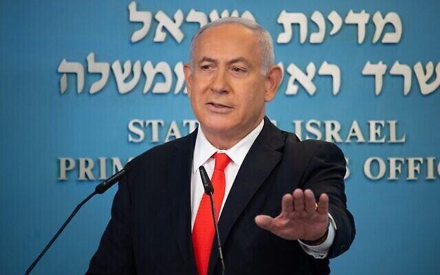 Benjamin Netanyahu annonce un nouveau confinement en raison du coronavirus, le 13 septembre 2020. (Yoav Dudkevitch / POOL / AFP)