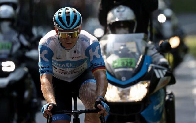 Le coureur André Greipel de l'équipe Israel Start-Up Nation sur le Tour de France, le 16 septembre 2020. (KENZO TRIBOUILLARD / AFP)