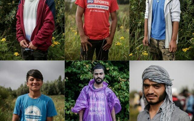 Cette mosaïque de portraits créée le 17 septembre 2020 présente des migrants dans un camp de fortune en périphérie de Calais le 15 août 2020.(Crédit : Sameer Al-DOUMY / AFP)