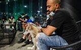 """Des clients masqués avec leurs chiens au café """"Barking Lot"""" dans la ville de Khobar, dans l'est du golfe saoudien, à 450 kilomètres à l'est de la capitale, le 25 septembre 2020. (FAYEZ NURELDINE / AFP)"""