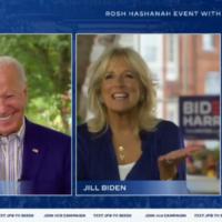 Le candidat démocrate à la présidentielle américaine Joe Biden et son épouse Jill s'adressent à leurs sympathisants juifs pour Rosh Hashanah lors d'une visioconférence, le 17 septembre 2020. (Capture écran / Biden-Harris campaign via JTA)