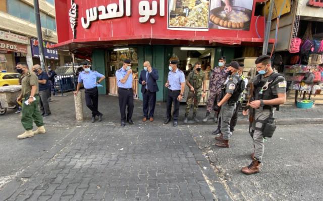 Les forces de sécurité palestiniennes déployées à Bethléem le jeudi 17 septembre 2020 (Crédit : Wafa)