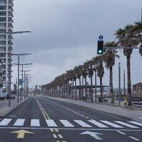 Illustration : dans cette photo du 11 avril 2020, la promenade du front de mer de Tel Aviv et un axe majeur sont vides pendant le confinement imposé par des mesures gouvernementales pour aider à arrêter la propagation du coronavirus à Tel Aviv. (Photo AP / Oded Balilty)