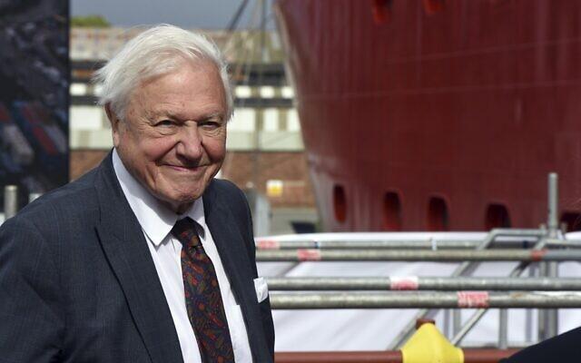 Sir David Attenborough lors de la cérémonie de baptême du RRS Sir David Attenborough au chantier naval de Camel Laird, Birkenhead, Angleterre, le 26 septembre 2019. (Asadour Guzelian/Pool Photo via AP)