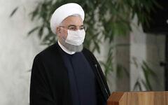 Le président iranien Hassan Rohani donne un point presse avec le Premier ministre irakien Mustafa al-Kadhimi à Téhéran, en Iran, le 21 juillet 2020. (Bureau de la présidence iranienne via AP)