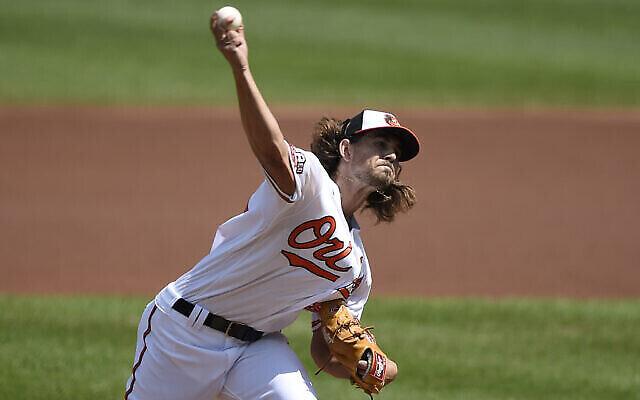 Le pitcher des Baltimore Orioles Dean Kremer lors du match contre les New York Yankees, le 6 septembre 2020, à Baltimore, aux États-Unis (Crédit : AP Photo/Gail Burton)