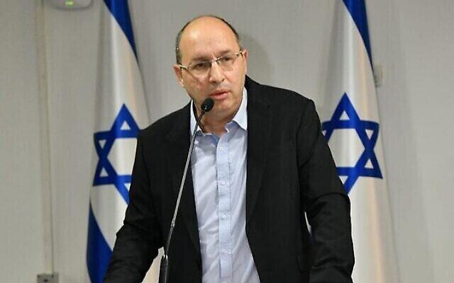 Le ministre de la Justice Avi Nissenkorn s'exprime lors d'une cérémonie au ministère de la Justice le 18 mai 2020. (Shlomi Amsalem/GPO)