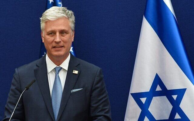 Robert O'Brien, conseiller à la sécurité nationale des États-Unis, à la résidence du Premier ministre à Jérusalem, le 30 août 2020. (Debbie Hill/Pool/AFP)
