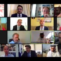 Capture écran d'un webinaire au cours duquel des fonctionnaires et des communicants israéliens ont discuté du rôle des médias dans l'avancement de la paix israélo-arabe avec des professionnels des médias de pays arabes, le 21 septembre 2020 (Autorisation)