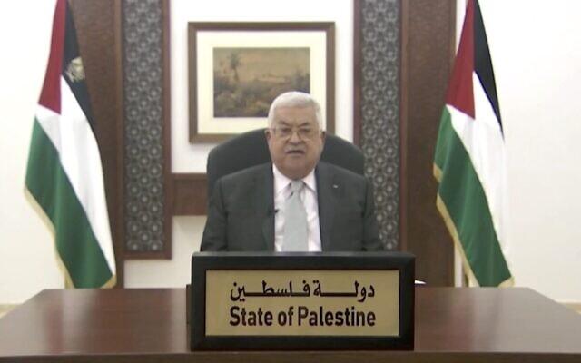 Le chef de l'Autorité palestinienne  Mahmoud Abbas lors d'un discours préenregistré devant l'Assemblée générale des Nations unies, le 25 septembre 2020. (Capture d'écran : ONU)