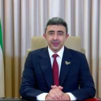 Le ministre des Affaires étrangères des Emirats arabes unis Abdullah bin Zayed al-Nahyan lors d'un discours devant l'Assemblée générale de l'ONU, le 29 septembre 2020 (Capture d'écran)