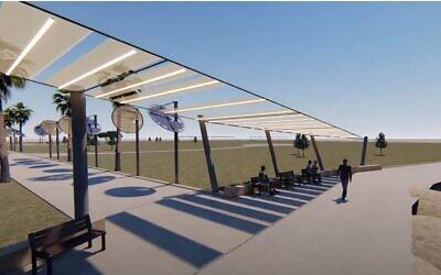 Illustration réalisée par Anai Green de son tissu utilisable en plein air, qui donne de l'ombre et incorpore des cellules photovoltaïques pour éclairer la nuit, qui a été récompensé, cette année, au Women4Climate Tech challenge. (Autorisation : Anai Green)