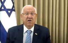 Le président Reuven Rivlin adresses ses vœux pour Rosh Hashanah aux Juifs du monde entier, le 17 septembre 2020 (Capture écran)