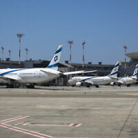 Avions d'El Al stationnés à l'aéroport international Ben Gourion, le 8 août 2020. (Olivier Fitoussi/FLASH90)