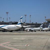 Avions d'El Al stationnés à l'aéroport international Ben Gourion, le 8 août 2020. (Olivier Fitoussi/FLASH90)