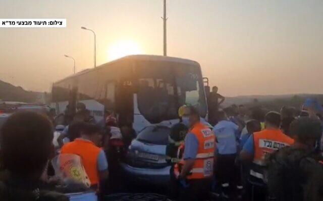 Un accident mortel survenue sur la route 55 dans le nord de la Cisjordanie, le 31 août 2020. (Capture d'écran de la 12e chaîne)
