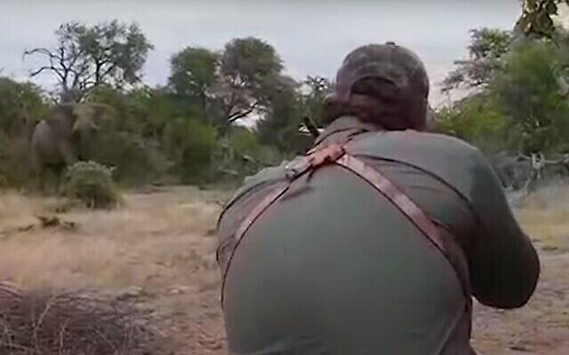 Le chasseur américain Aaron Raby tire sur un éléphant pour le sport. (Capture d'écran, People for the Ethical Treatment of Animals)