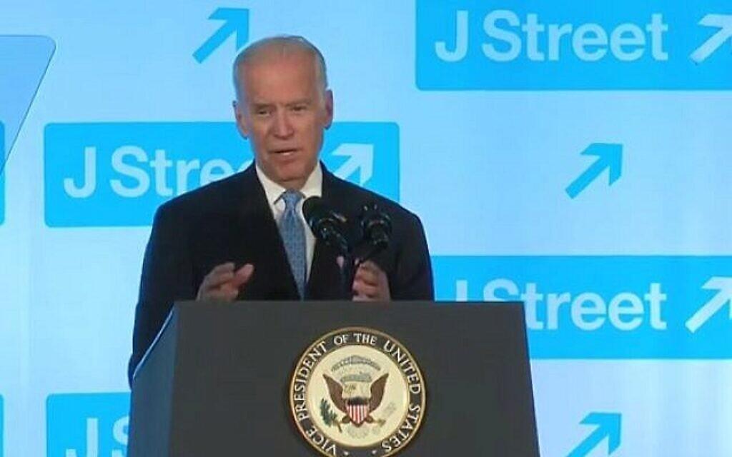 Illustration : le vice-président Joe Biden s'adresse au gala de J-Street le 19 avril 2016. (Capture d'écran YouTube)