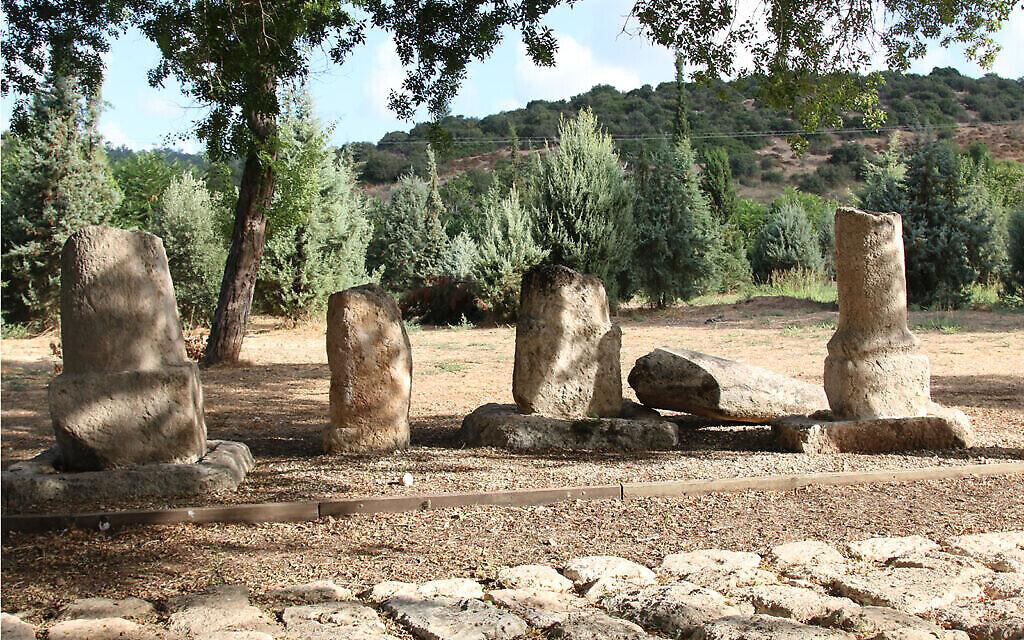 Des bornes en pierre romaines, dont deux gravés, au jardin archéologique de Givat Yeshayahu archaeological garden. Elles ont été placés ici après avoir été découvertes lors de fouilles le long de l'autoroute 38. (Shmuel Bar-Am)