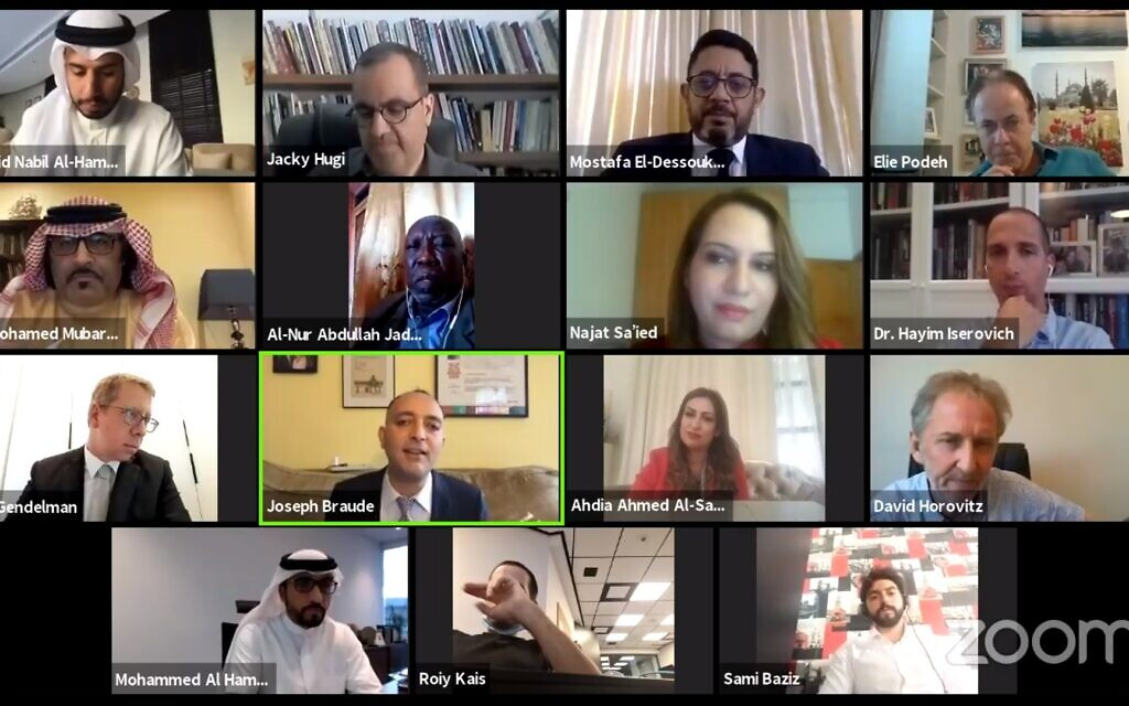 Capture d'écran d'un webinaire au cours duquel des journalistes, des fonctionnaires et des professionnels de la communication israéliens et arabes ont discuté du rôle des médias dans la promotion de la paix arabo-israélienne, le 21 septembre 2020. (Facebook)