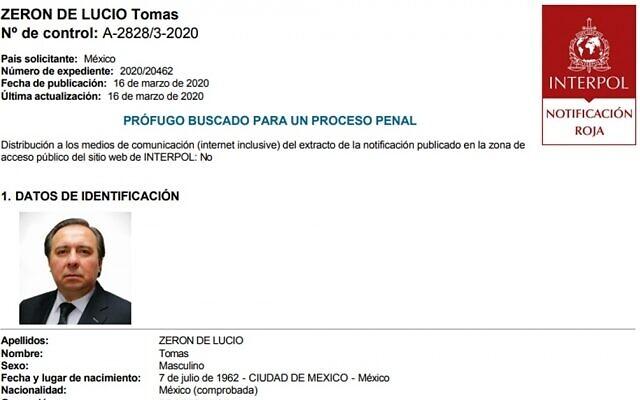 La fiche Interpol de Tomas Zeron, accusé d'irrégularités dans l'enquête qu'il dirigeait sur la disparition en 2014 de 43 étudiants mexicains. (Interpol)