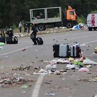 Les ordures abandonnées sur la frontière entre la Biélorussie et l'Ukraine après un conflit sur l'entrée sur le territoire ukrainien des pèlerins juifs, le 18 septembre 2020 (Capture d'écran)