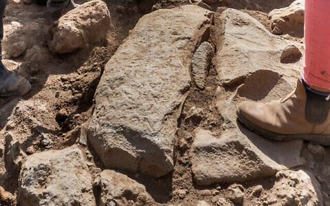 L'inscription figurant sur la borne du 3è siècle de l'ère commune découverte lors de fouilles de l'Autorité israélienne des Antiquités à Nafah, sur le plateau du Golan. (Crédit : Assaf Peretz/Autorité israélienne des antiquités)