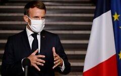 Le président français Emmanuel Macron lors d'un discours  sur la lutte contre le séparatisme à la préfecture de Seine Saint-Denis, à Bobigne 2020. (Crédit :  Ludovic MARIN / various sources / AFP)