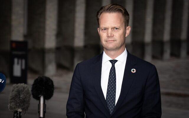 Jeppe Kofod, ministre danois des Affaires étrangères, à son ministère à Copenhague, au Danemark, le 22 octobre 2020. (Crédit : Emil Helms / Ritzau Scanpix / AFP)