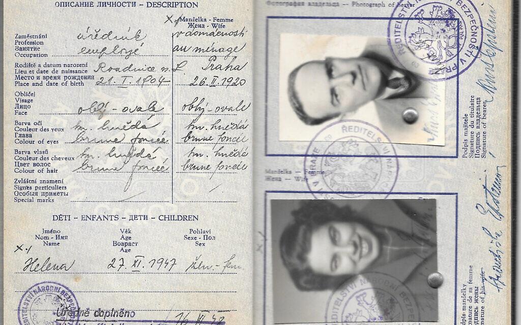 Document de sortie de Tchécoslovaquie de Franci Rabinek Epstein et Kurt Epstein, 1948. (Avec l'aimable autorisation de Helen Epstein)