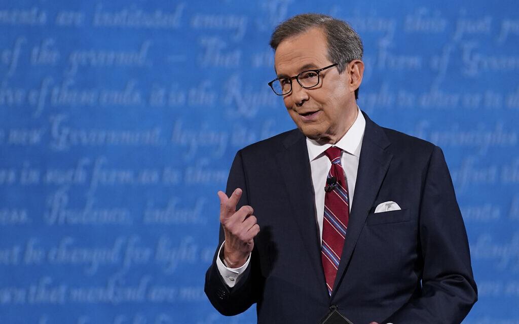 Le présentateur de Fox News, Chris Wallace, avant le début du premier débat présidentiel américain, le 29 septembre 2020, à Cleveland. (Crédit : AP Photo/Patrick Semansky)