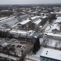 Vu aérienne de la colonie pénae de Nizhny Novgorod, en Russie, le 20 décembre 2013. (Crédit : AP Photo/Denis Tyrin)